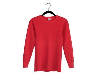 Vintage Bright Red Long Johns 50/50 Poly-Cotton Blend Thermal Longsleeve Top, Made in USA - Small