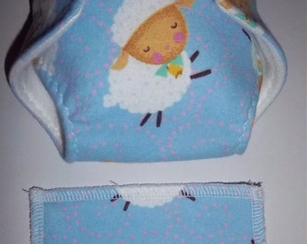 Baby Doll Diaper/wipe - adorable dressed up lamb on blue -  adjustable for many dolls such as bitty baby