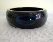 Dark Subtle Colors Peacock Eye Feather Effect Blue Purple Green BlackClear Lucite Retro Chic Chunky Bangle Bracelet Sobral Inspired