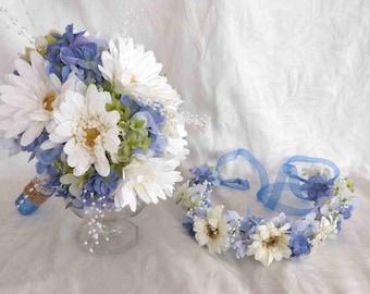 White gerbera and blue hydrangea wedding bouquet set