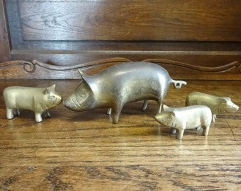 Vintage Brass Pig Pigs Piglets Ornament Figurine Sculpture Statue circa 1960-70's / English Shop
