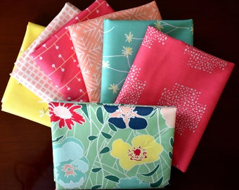 Curiosities Green, Pink and Yellow Fat Quarter Bundle of 7 by Jeni Baker for Art Gallery Fabrics