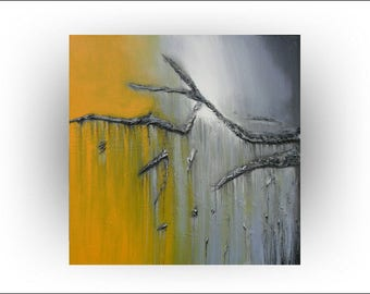 Abstract  Gray and Yellow  Original painting 30 x 30 - Skye Taylor