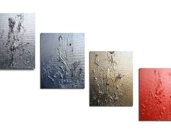 Quadriptych -Small Metallic Abstract - Textured - Silver - Blue - Gold - Red - 10 x 24 -Skye Taylor Fine art