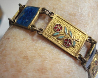 1950's Bracelet Goldtone Metal and Blue Enamel