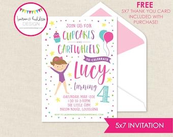Gymnastics Birthday Invitation, Gymnastics Birthday, Gymnastics Printables, Gymnastics Birthday Decorations, Lauren Haddox Designs