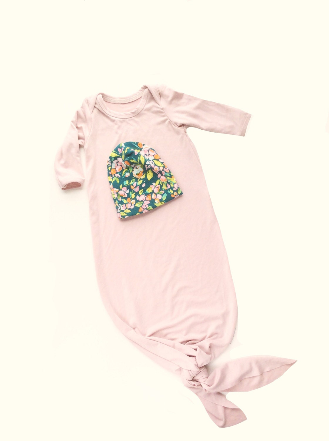 Knotted baby gown pink baby gown bamboo baby clothes Newborn