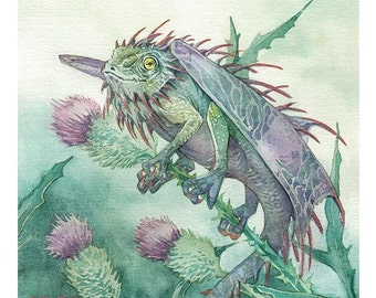 Thistle dragon - matted print