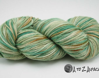 Hand Dyed Royal Baby Alpaca Yarn Bulky Weight Mint Mix