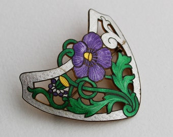 Vintage Art Nouveau Guilloche Enameled Flower Brooch Sash Pin