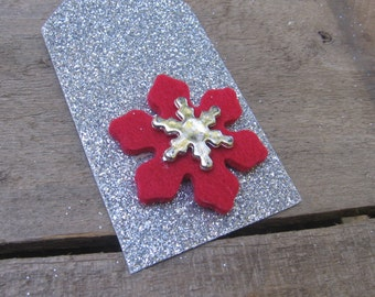 Red and Silver Snowflake Gift Tags, Set of ELEVEN, Silver Snowflake Gift Tags, Holiday Tags, Gift Wrap, Gift Embellishment, Large Gift Tags