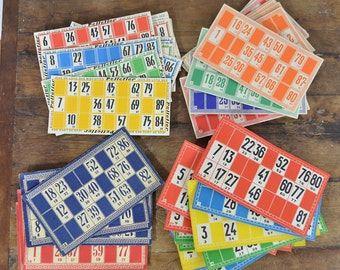 71 Vintage French Loto Bingo cards JOB LOT 4 styles colored numbers ephemera red yellow green blue orange