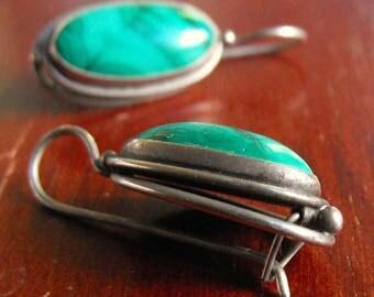 Genuine Malachite Sterling Earrings  Handmade Sterling silver earrings