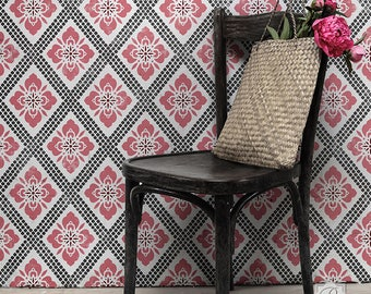 Hana Trellis Wall Stencil -- Allover Stencil Great Alternatiive to Wall Decals and Wallpaper for Wall Decor