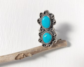 Vintage 1970s Native American Sterling Silver Turquoise Ring Size 5.5