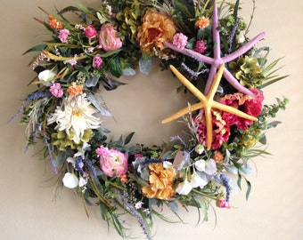 Beachy Wreath spring wreath-Beach Wreath-Beach Wedding Decoration-Fireplace Wreath-Wedding Decoration-Starfish Wreath