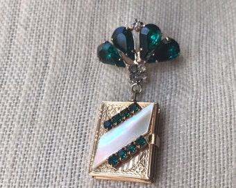 Vintage Emerald Locket Brooch