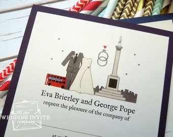 London Trafalgar Square Postcard Wedding/Evening Invitations