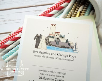 Malcesine Castle Postcard Wedding/Evening Invitations