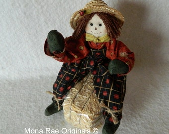 Scarecrow Doll - Punkin' (With Straw Bale)
