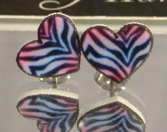 Purple Zebra Print Heart Stud Earrings - surgical steel Jewelry - Valentine's Jewellery