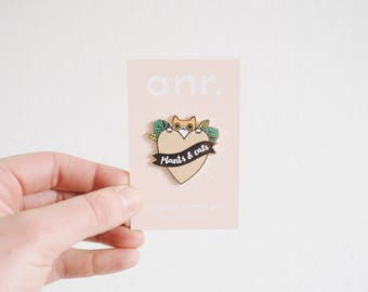 Plants & Cats Enamel Pin // enamel pin - pin badge - sassy pin - lapel pin - flair - enamel jewellery
