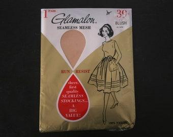 Vintage Stockings, Glamalon Thigh High Nylon Stockings, Blush, New In Package, Stocking Size 11 to 11 1/2