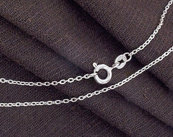16 inches of 925 Sterling Silver Fine Cable Chain Necklace , 2x1.5 mm. Delicate Chain  :th2534-16
