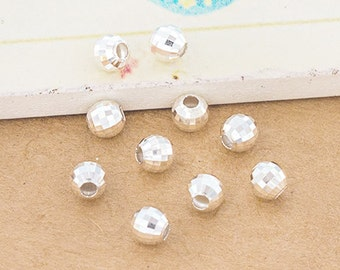 10 of 925 Sterling Silver Faceted Round Beads 5 mm. :th2560