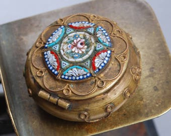 Antique Italian micromosaic box, jewelry pill box, micro mosaic Millefiori case