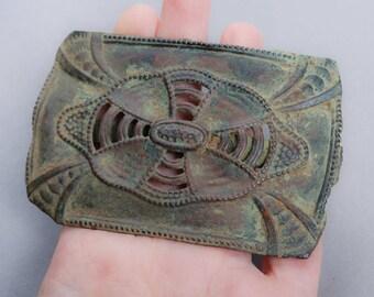 Antique brass filigree plate, part of buckle, dark patina, Art Nouveau