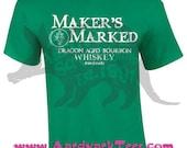Maker's Marked Dragon Aged Whiskey - Dragon Age Fan Shirt - Logo Parody Tee