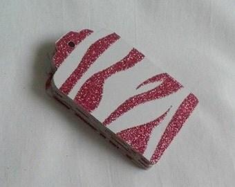Gift Tag Set / Pink Zebra Print / Sparkle / Fuchsia Pink