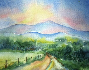 "Irish landscape summer SALE ""The Low Road to the Mountain"" Watercolour Ireland -Original  Art"