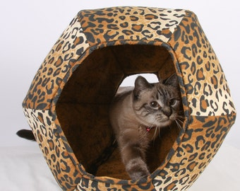 Cat Ball cave style kitty bed in leopard print cotton fabric - modern style pet furniture for cats with great personal style
