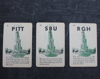 Vintage City Card Game, PITTSBURGH Three Playing Cards