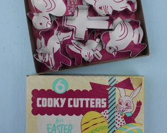 Vintage Metal Easter Cooky Cookie Cutters, Original Box, set of 6