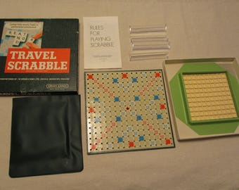 Vintage Travel Scrabble Game, Complete, British Edition, Small Vintage Scrabble Game