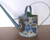 Vintage Metal Hand Painted Watering Can ~ Water Can Signed Clarisse ~ Tole Folk Painting