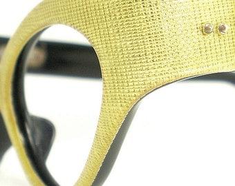 Vintage Cat Eye Glasses Eyeglasses Sunglasses Frame France Crosshatch Design Eyewear