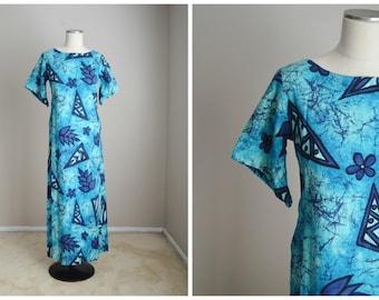 vintage 60s 70s blye floral print hawaiian dress -- womens xsmall small