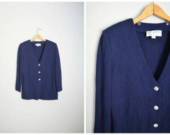 vintage st. john evening dark navy blue jacket // womens medium large