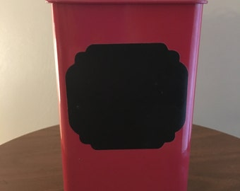 Red Enamel Tin with Lid and Chalkboard Label