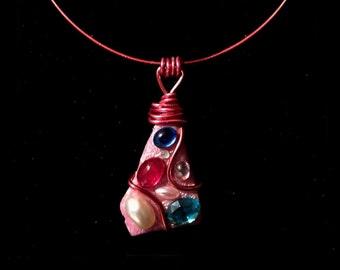 necklace pink swarovski cabochon