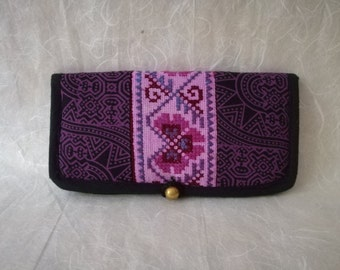 Vintage Hmong Purse, Embroidered Wallet, Tribal Passport Bag, Thai Bag, Bohemian Wallet