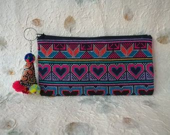 Makeup bag with pom pom, tribal pencil case, cosmetic bag, cosmetic purse, zip pouch, zipper purse, makeup storage, cosmetic storage