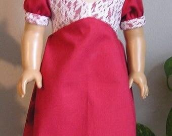 1810 Regency Brick Red Cotton Dress for AG Caroline or 18 Inch Doll