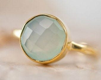 HOLIDAY SALE - Aqua Blue Chalcedony Ring Gold - Solitaire Ring - Gemstone Ring - Stacking Ring - Gold Ring - Round Ring
