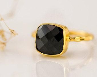 SALE - Black Onyx Ring Gold - Black Stone Ring - Cushion Ring - Solitaire Ring - Stacking Ring - Gold Ring - Gift for Mom