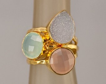 SALE - Stackable Stone Ring Set - Mother's Ring Set - Birthstone Ring Set - Stacking Rings - Gemstone Rings-  Druzy Rings - Gold Rings -